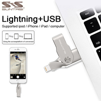 Suntrsi Lightning USB Flash Drive For iPhone iPad 128GB 64GB Pen Drive USB 3.0 High Speed for IOS Pendrive 32GB free shipping