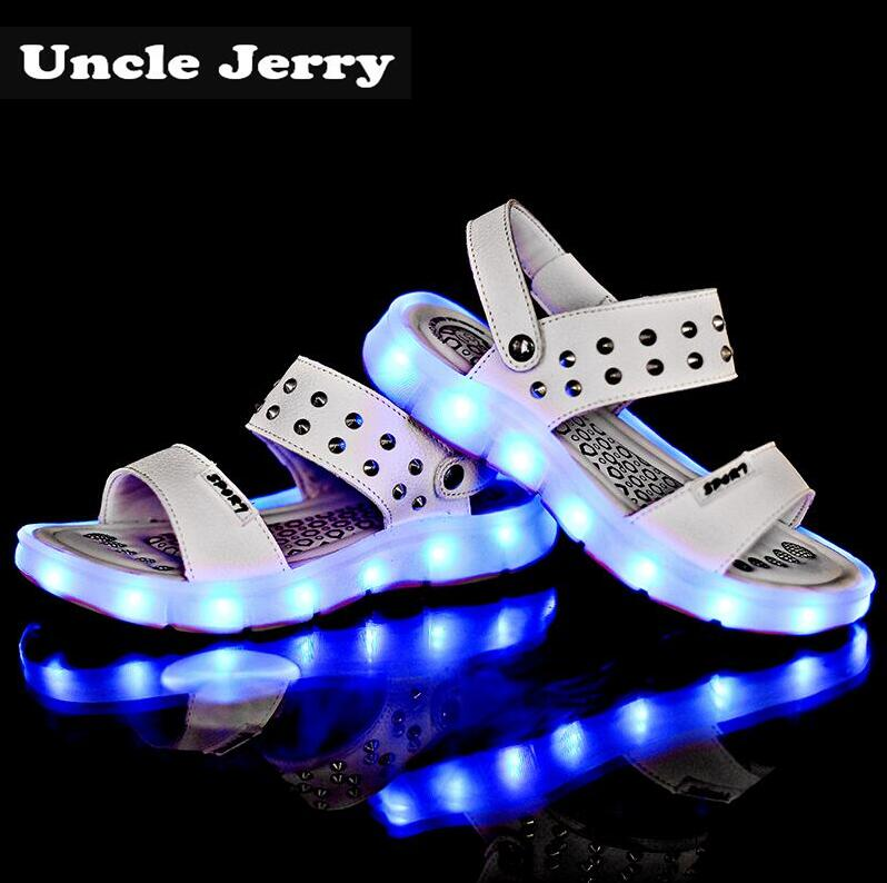 UncleJerry USB Rechargeable Sandals for Girls and Women Rivets Glowing Shoes Children Beach Sandals Kids Summer Shoes Baby Shoes