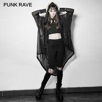 PUNK RAVE Gothic Asymmetric Voan Dài Áo Coat Suit cho Suit Halloween và Ngăn Chặn Bask Phụ Nữ Mùa Hè Đen Punk Rock Nhẹ Nhàng Hơn Áo Khoác