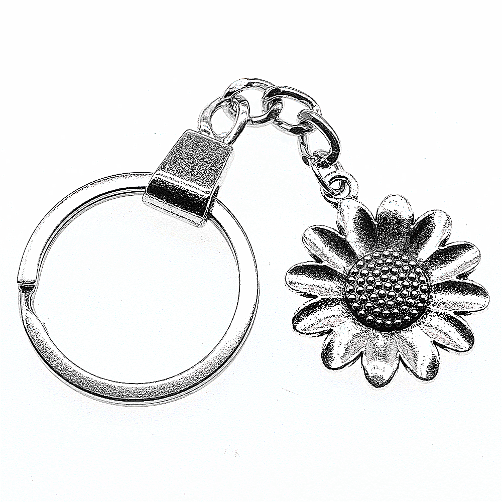 Women Jewelry Gift Key Chain New Fashion Metal Key Chains Antique Silver 30x25mm Sunflower Flower Charm Key Rings