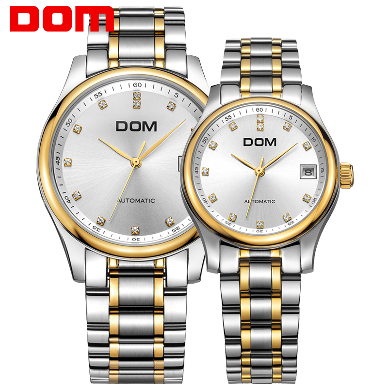DOM Top Brand Lovers Couples Quartz Men Watch Women Automatic Clock Watches Ladies Dress Waterproof Wristwatch M 95G 7M+G 95G 7M belbi top brand couples quartz watch men women valentine gift clock watches ladies 30m waterproof wristwatches