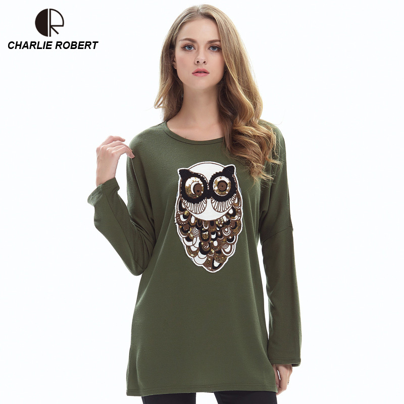 CR 2017 New Autumn Spring Women Long Sleeve Tops Plis Size M-5XL Knitted Casual Pullovers Owl Sequin Loose Batwing Sleeve Shirt