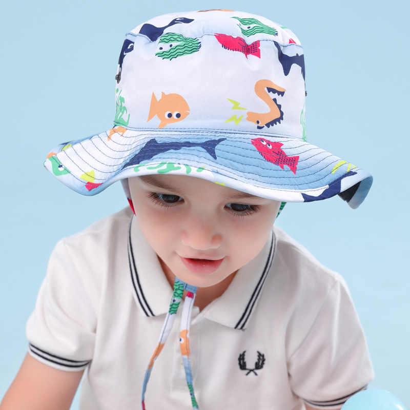 31018efad Reversible Outdoor Baby Summer Hat Boys Hat UPF 50+ Wide Brim Toddler Hat  Beach Bucket Hat Star Shark Sea