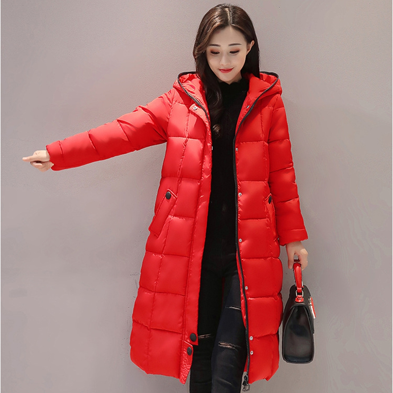 2017 NEW HOT WOMEN WINTER JACKER FASHION SLIM MID LENGTH HOODED THICK WARM FEMALE PARKAS COTTON WADDED LADIES OVERCOAT ZL669