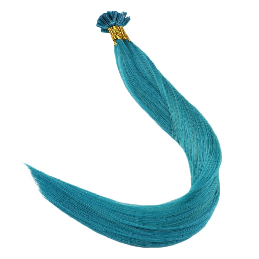 Full Shine Nail Shape Hair Solid Color Teal Strands 1g Per Strand 25g Per Package Pre Bonded Remy Hair Extensions