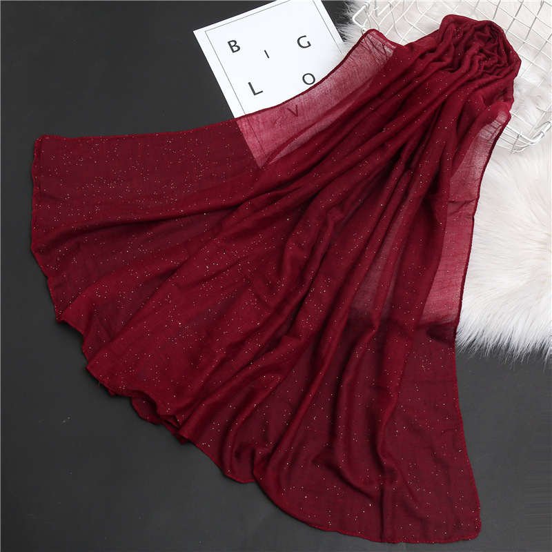Plain Bubble Cotton Glitter Hijab Scarf Women Soft Muslim Scarves Shawls Solid Sequin Head Band Wraps 2020 New
