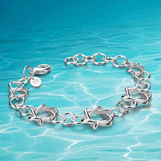 ed0ef42096b8 Joyería de las mujeres moda, pulseras plata ley 925. Pulseras estrella seis  puntas ahuecadas. Elegante personalidad