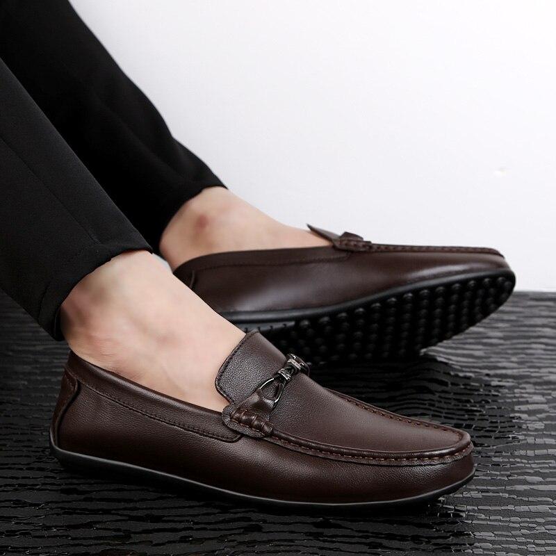 Brun Hommes Sur Et Respirant Mocassins forme Véritable Conduite Chaussures Chaussure Noir Pour Brown Black Mode Slip Urban Youth dark La Cuir Homme De Plate En z8dzqWH