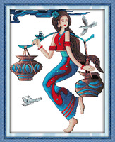 を豊作国家女性プリントキャンバスdmcクロスステッチキットプリントクロスステッチセット刺繍針仕