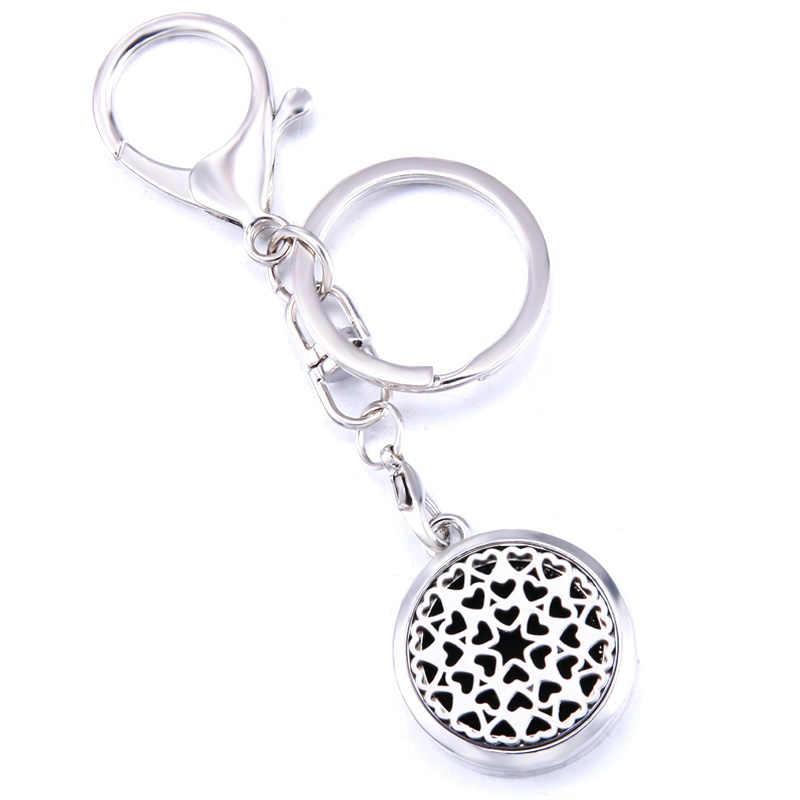 יפה לב צורת אופנה בושם ארומה תליון Keychain נירוסטה ארומתרפיה חיוני שמן מפזר תיבת Keyring