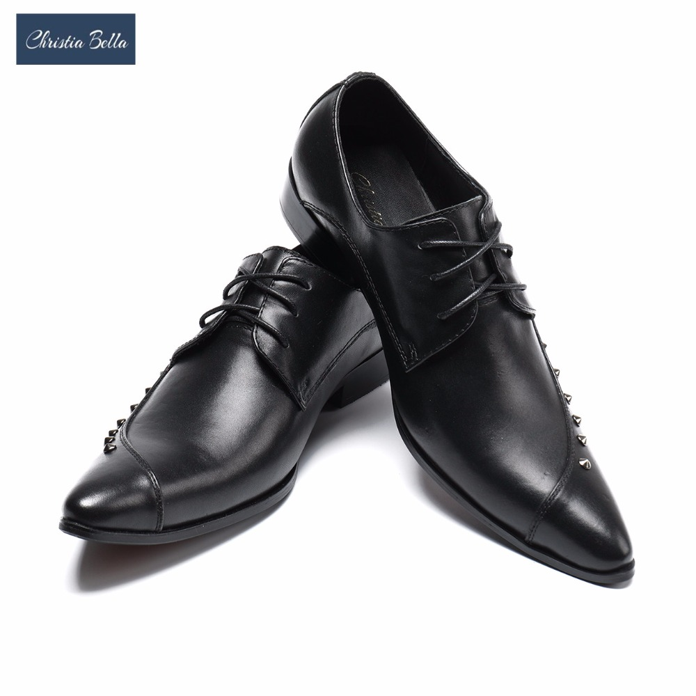 Christia Bella Italian Dress Shoes Men Black Genuine Leather Pointed Toe Wedding Party Shoes Business Formal Shoes with Rivet оборудование для мониторинга m square tpu page 6