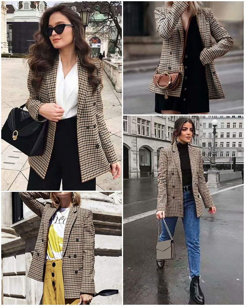 Affogatoo Fashion double breasted plaid blazer women Long sleeve slim OL blazer 18 Casual autumn jacket blazer female 2