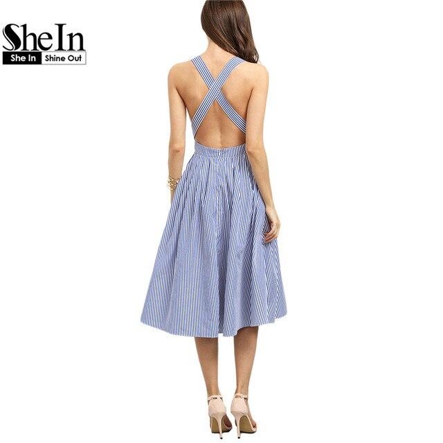 Shein nuevas mujeres de la llegada sexy midi vestidos 2016 verano azul de rayas cuello cuadrado sin mangas crisscross volver línea dress