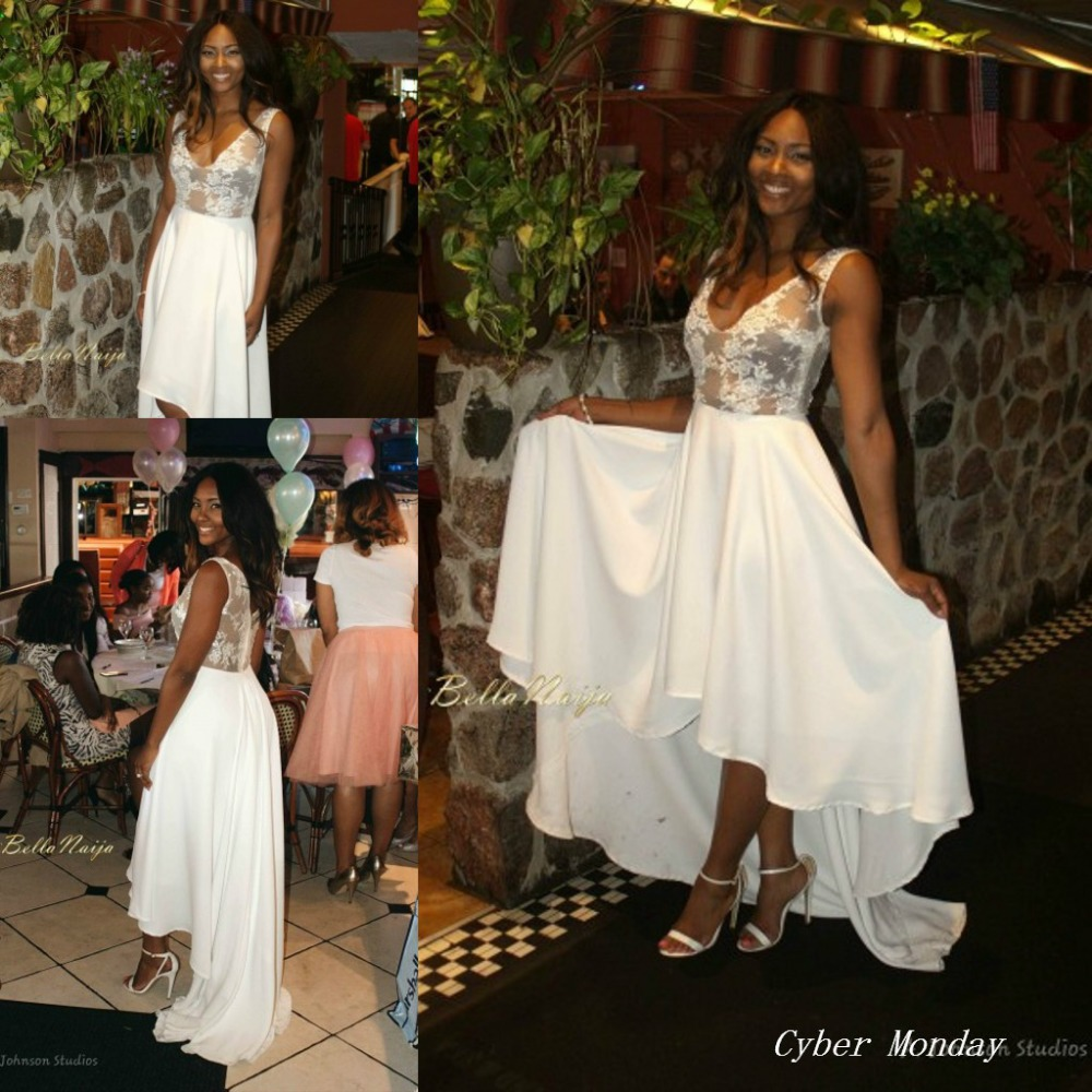 White dress bridal shower - Online Shop Free Shipping Osas Ighodaro Pretty Bridal Shower Toju Foyeh White Colour Lace High Low Chiffon Prom Gown Women Dress Wh466 Aliexpress Mobile