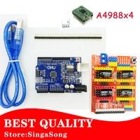 CNC Shield V3.0 + UNO R3 + 4pcs A4988 Driver motor module /GRBL for Arduino 3D Printer TE623