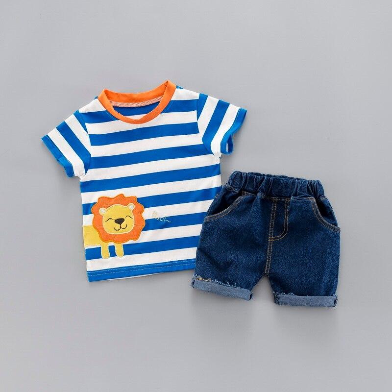 Комплект модной летней одежды в полоску для маленьких мальчиков, футболка с короткими рукавами + джинсы, костюм детская одежда для мальчико...