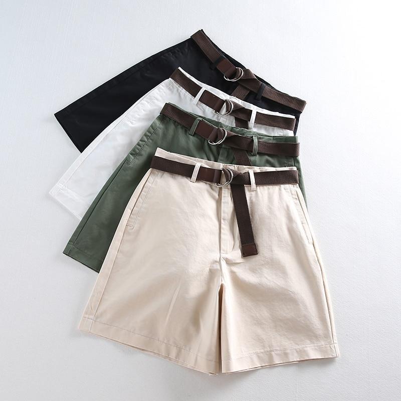 Casual Women Shorts A-line High Waist Slim Summer Shorts 36