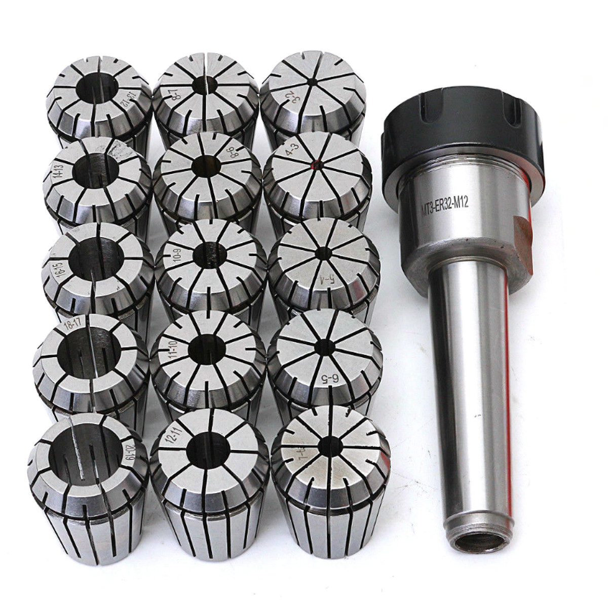 16pcs/set ER32 Collet Chuck Holder MT3 M12 Morse Taper + ER32 Spring Collets ID 3-20mm For Lathe Milling Tools mt 2 morse taper shank with 3 16mm spanner chuck 2 morse taper shank b16 heavy spanner drill chuck for twist drills chuck
