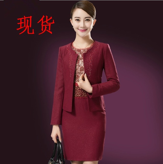 Hot Fashion Elegant Fuschia short lace mother of the bride dresses Suits  with long Jacket Knee 83bf1d375