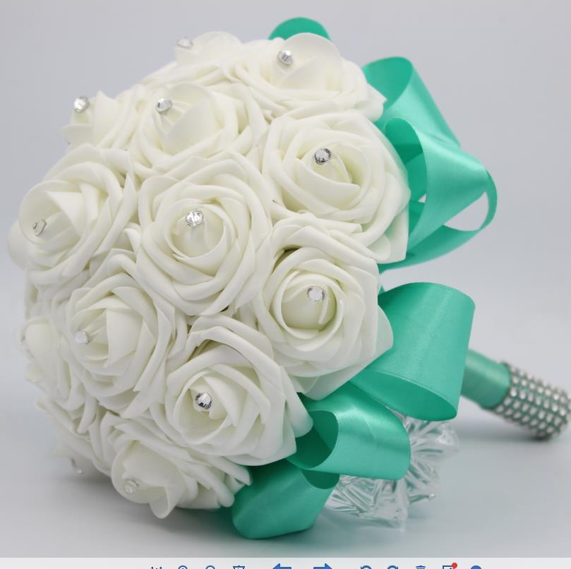 Hand Made Wedding Bridal Bridesmaid Bouquet Silk White Rose Flower Rhinestine Pearls Diy Flowers Home Party Decoration In Artificial Dried