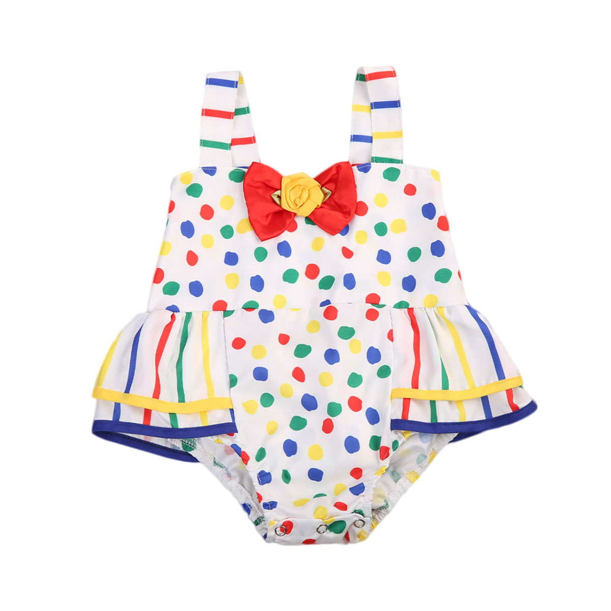 Infant Baby Girls Rainbow Polka Dot   Romper   Baby Girl Summer Cute Bowknot Princess Jumpsuit Outfits Sunsuit Clothes Set