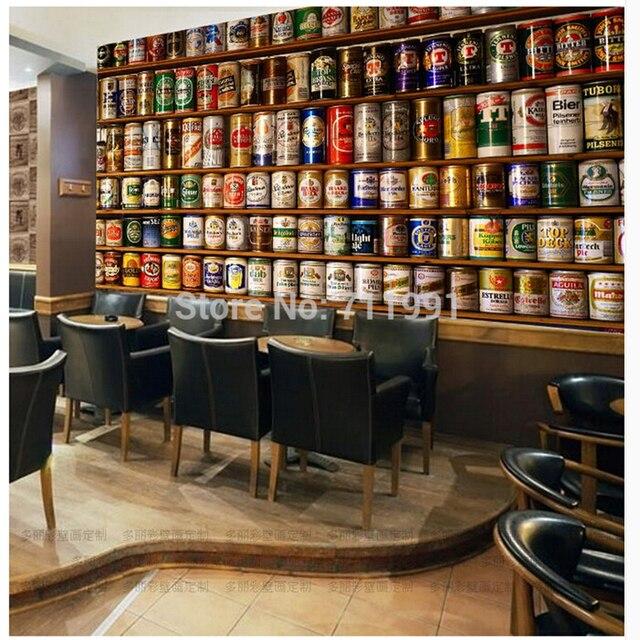 Custom Vintage Tapete, 3D Bier Wandmalereien Für Wohnzimmer Bar KTV  Restaurant Hintergrund Wand Hause Dekoration