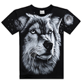 2016 New Fashion Creative Summer 3D Printed on Shoulder Shirt Casual Men's Wear Wolf Wang T Shirt Hip Hop Brand Clothing