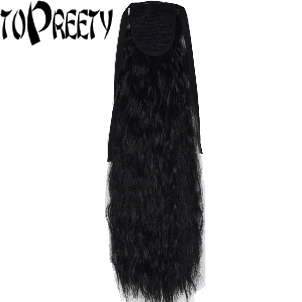 TOPREETY Heat Resistant B5 Synthetic Hair 22 55cm Kinky Straight Clip in Ribbon Ponytail Hair Extensions