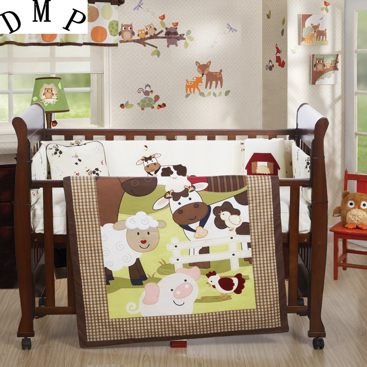 7PCS Embroidery Baby Cot Bedding Set Cotton Baby Bumper Baby Cot Sets Baby Bed Bumper ,include(bumper+duvet+sheet+pillow)