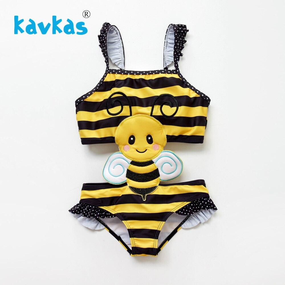 Kavkas Newborn Baby Girls One Piece Cartoon Bee Insect Embroidery Kids Girls Swimwear Bathing Suit Banadores Bebes Nina Set