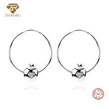 ZHAORU Authentic 925 Sterling Sliver Earrings Enamal  Crystal Earring with Ear Loop for Women Pandore Charm Fashion Jewelry Gift