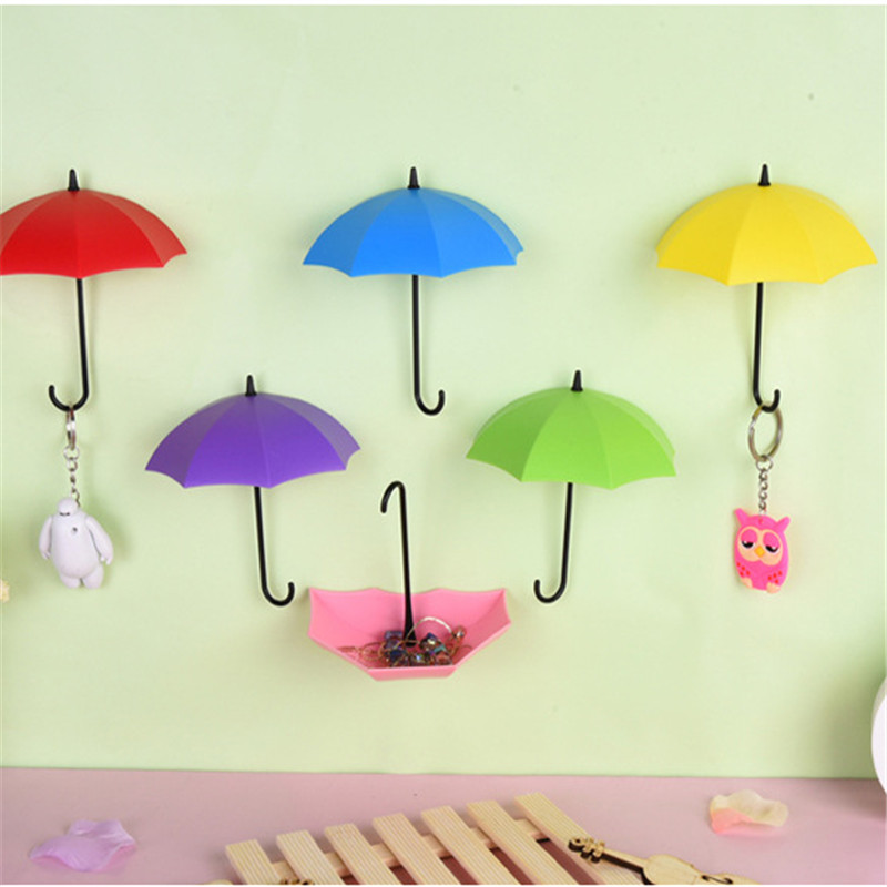 Bathroom Fixtures Robe Hooks Dynamic 3pc Cute Umbrella Shape Self-sticking Wall Hooks Keys Sundries Hook Hanger Office Home Wall Decor Storage Supplies Free Shipping To Have A Long Historical Standing