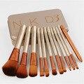 Caja de hierro dorado 12 unids/set NKD3 Maquillaje Cosmético Pinceles profesional Polvos Sombra de Ojos Pincel de Labios Herramientas esenciales de belleza