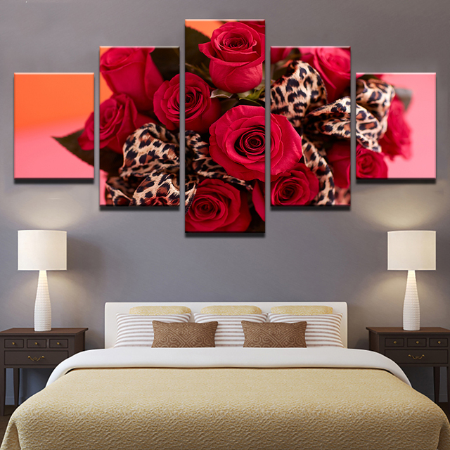 Home Decor HD Prints Flowers Pictures 5 Pieces Red Roses Bouquet Canvas  Paintings Leopard Print Ribbon