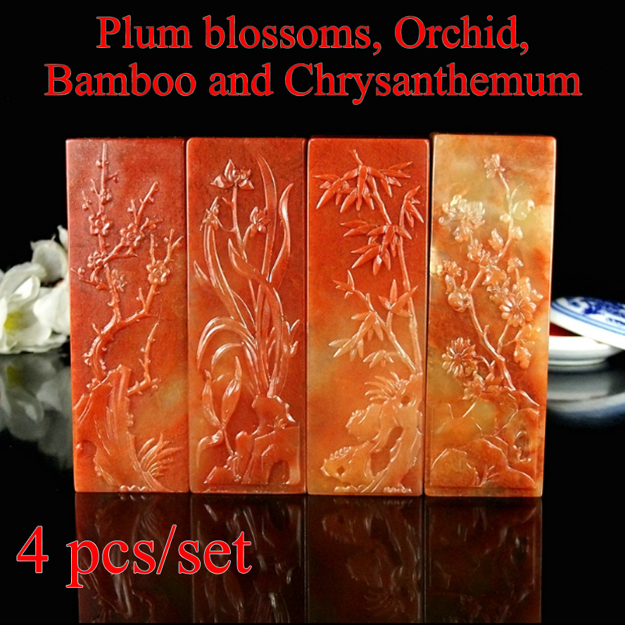4 pcs/set China traditional stamp seal stone plum blossoms orchid bamboo chrysanthemum pattern for art painting calligraphy 2pcs set chinese painting book album of zheng banqia bamboo orchid master brush ink art