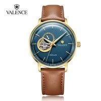 Валентных Топ Элитный бренд Для Мужчин's Бизнес часы самостоятельно ветер автоматические часы Скелет лица Японии Movt 50 м Водонепроницаемый