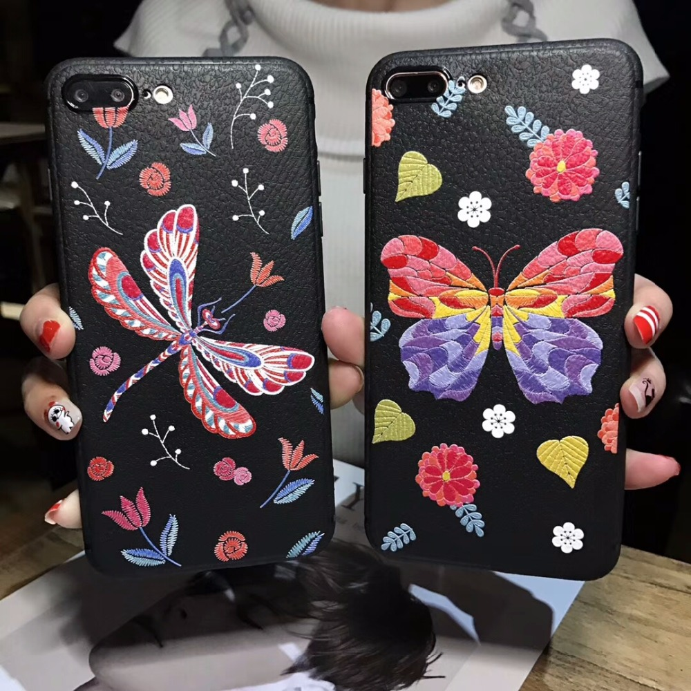BotexBling Butterfly snake Soft Leather Silicone case for iphone X case 8 8plus for iphone 7 case 7plus 6 6s plus 6plus cover