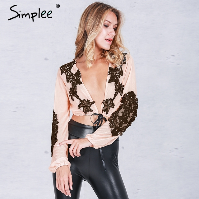 Simplee Apparel Deep v lace blouse feminina Applique perspective mesh long blouse Sexy party ethnic blouse blusas club short top