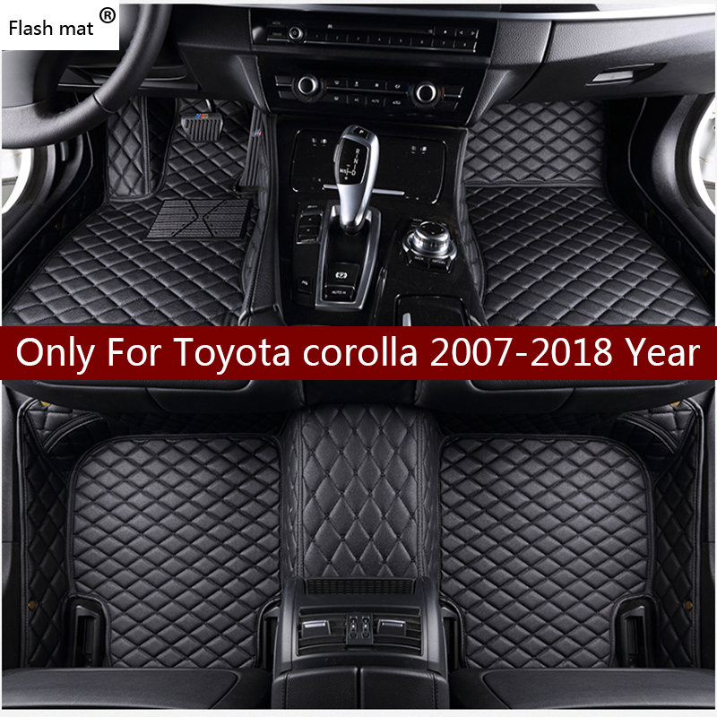 Flash mat leather car floor mats for Toyota corolla 2007-2014 2015 2016 2017 2018 Custom auto foot Pads automobile carpet cover auto floor mats for honda cr v crv 2007 2011 foot carpets step mat high quality brand new embroidery leather mats
