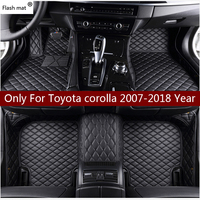 Flash mat leather car floor mats for Toyota corolla 2007 2014 2015 2016 2017 2018 Custom auto foot Pads automobile carpet cover