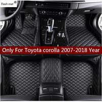 Flash tapis en cuir tapis de sol de voiture pour Toyota corolla 2007-2014 2015 2016 2017 2018 Personnalisé auto patins automobile tapis couverture
