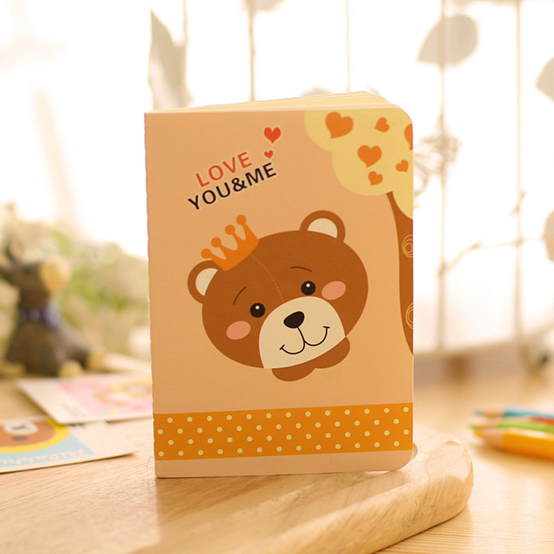 US $1 88 |4pcs/lot 12*8 5cm A6 Size Personalized Notebook Bear Series  Suture Book Lovely Cartoon Line Book Small Notebook-in Notebooks from  Office &