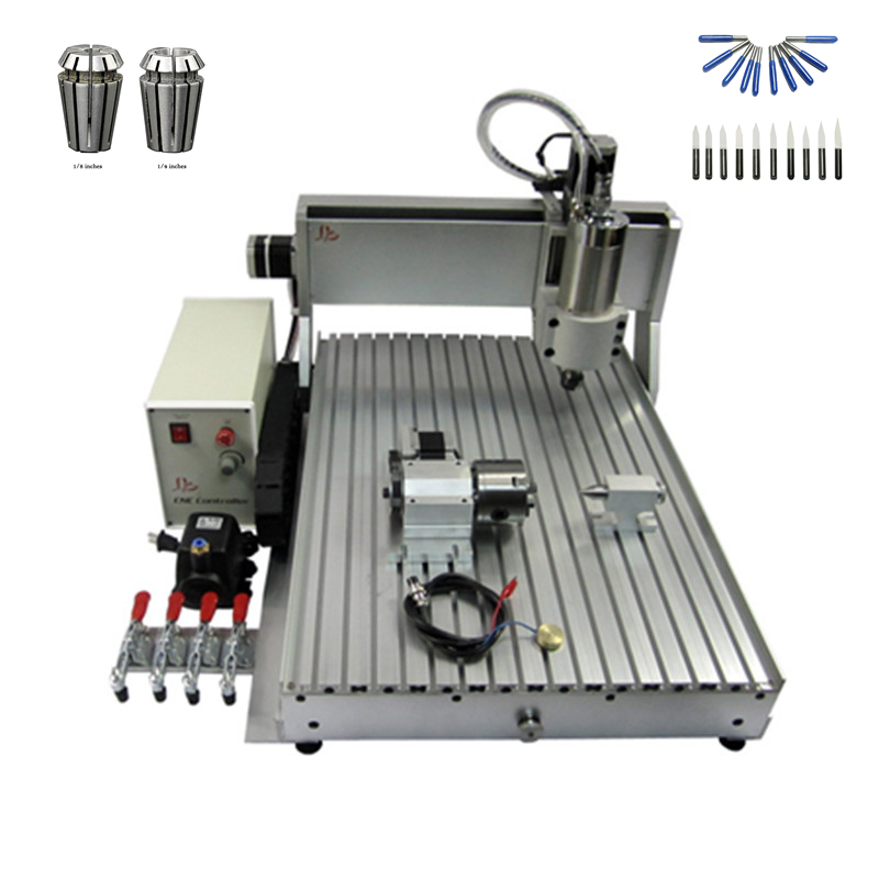 1500W spinlde 4axis CNC Router 6090 USB port Engraving Drilling and Milling Machine with free cutter er11 collet cnc 3020t d300 4axis router drilling and milling machine
