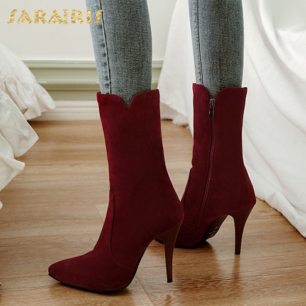 SARAIRIS Plus Size 32-48 Top Quality Zip Up Shoes Woman Boots Sexy Thin High Heels Hot Sale Mid Calf Boots Shoes Woman цена