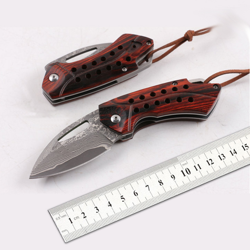 Free shipping  New style a sharp Damascus knife  folding knife The rosewood handle Exquisite gift  Outdoor survival tools mini damascus steel folding knife handmade rosewood gift knife portable outdoor camping pocket knife free shipping
