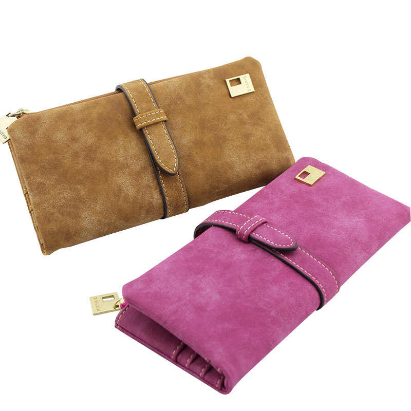 Artificial Leather Wallets Nubuck Leather Zipper Long Purse Wallet for Women//Lady-Blue
