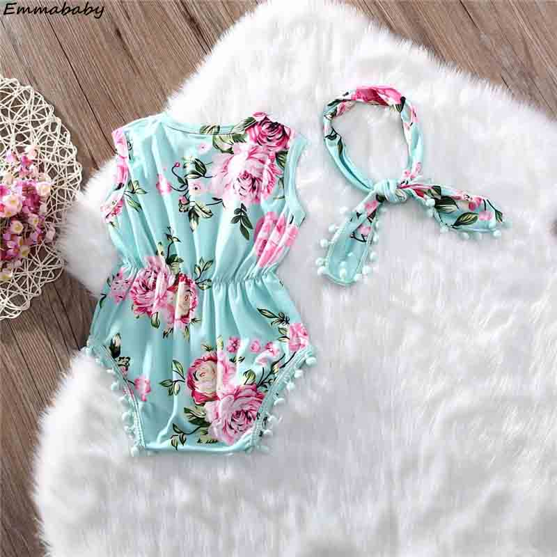 2Pcs Sets Newborn Baby Girls Floral Tassel Sleeveless Rompers Jumpsuits Headband Playsuit Lovely Baby Clothes Outfits Sets