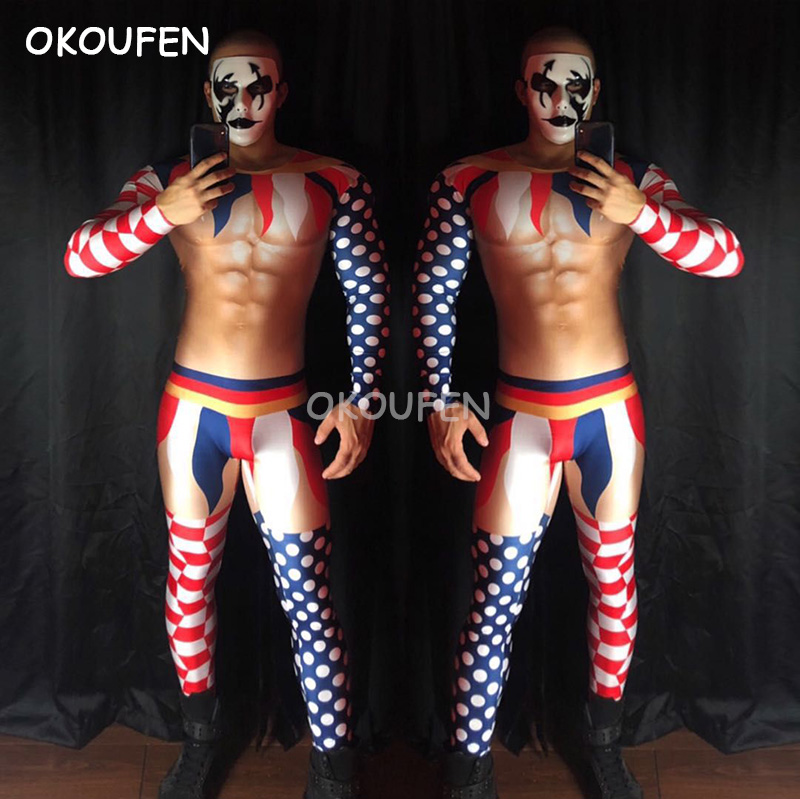 Bar nightclub male singer DS 3D fake muscle abdominal muscles clown stitching theme party show stage performancecostume