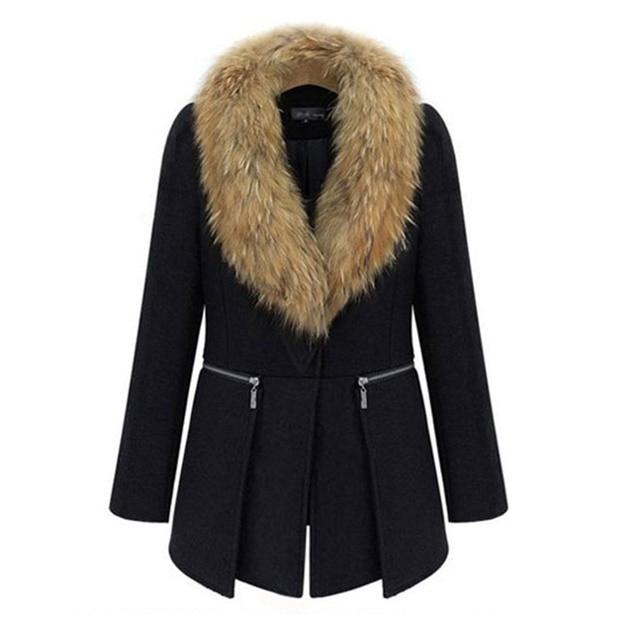Large Faux Fur Collar Woolen Coat Women Plus Size Overcoat Winter 2018 Hot Sale Warm Elegant Lady Black Fashion Casual Outerwear