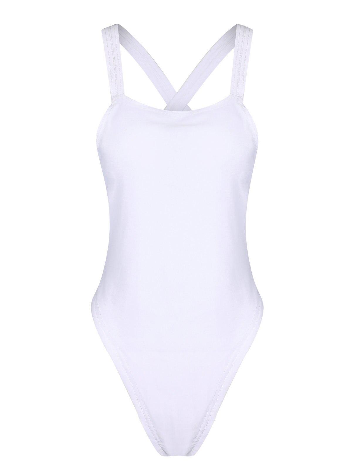 Sexy Solid Color Back Cross-Body OnePiece Swimsuit Backless Swimsuit For Women Swimwear Female Bathing Suit Swim Beachwear Mujer